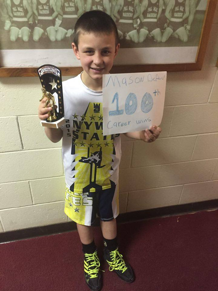 Mason DePew (Canandaigua Elite) Gets his 100th win at the Palmyra Youth Wrestling Tournament